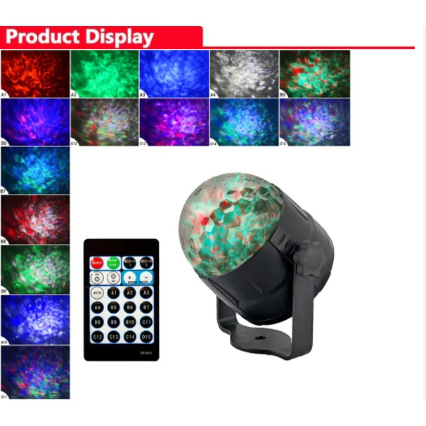 JM NEW 15 COLORS USB HOME WATER PATTERN PARTY DISCO BALL STAGE PERFORMANCE RGB LIGHT ADJUSTABLE EFFECT LIGHTING UK PIN