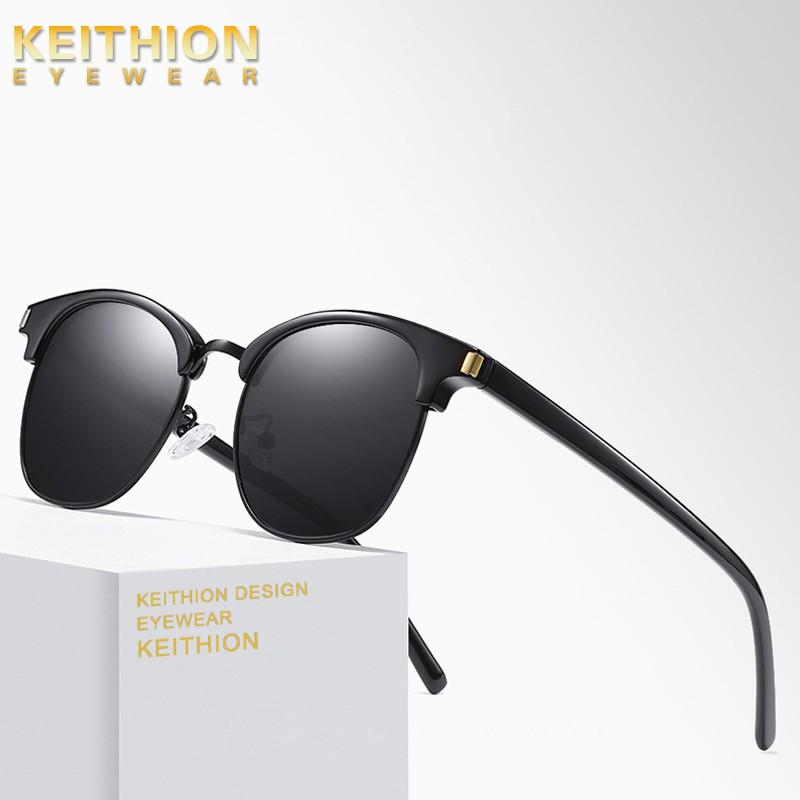KEITHION Unisex Round Polarized Sunglasses Vintage Retro Mirrored Eyewear Silver