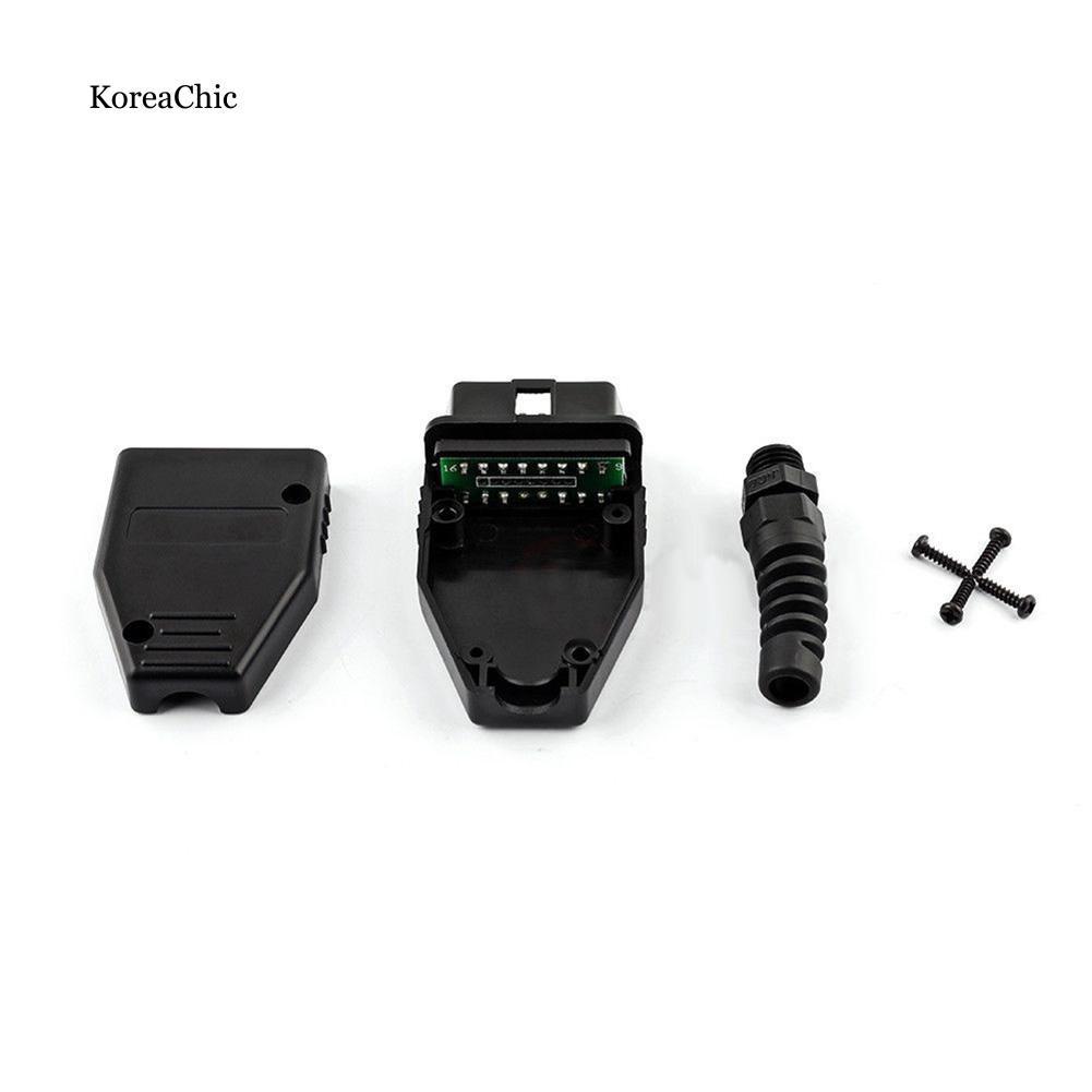 OBD 16 Pin Male Shell Diagnostic Adaptor Connector Plug Cable OBD2 Auto Tool