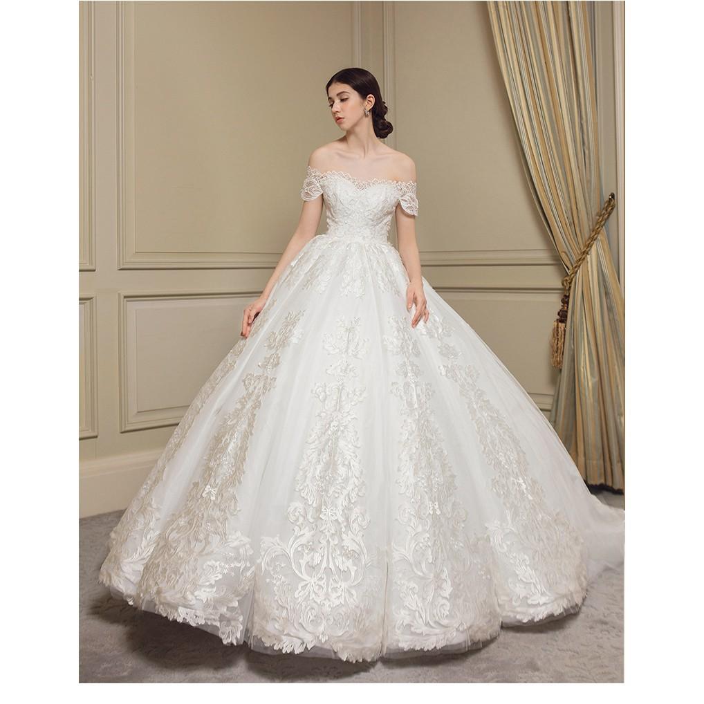 [Ready Stock] Gaun Wanita Model Off-Shoulder dengan Hiasan Renda dan Bordir  Warna Putih untuk Pesta Pernikahan