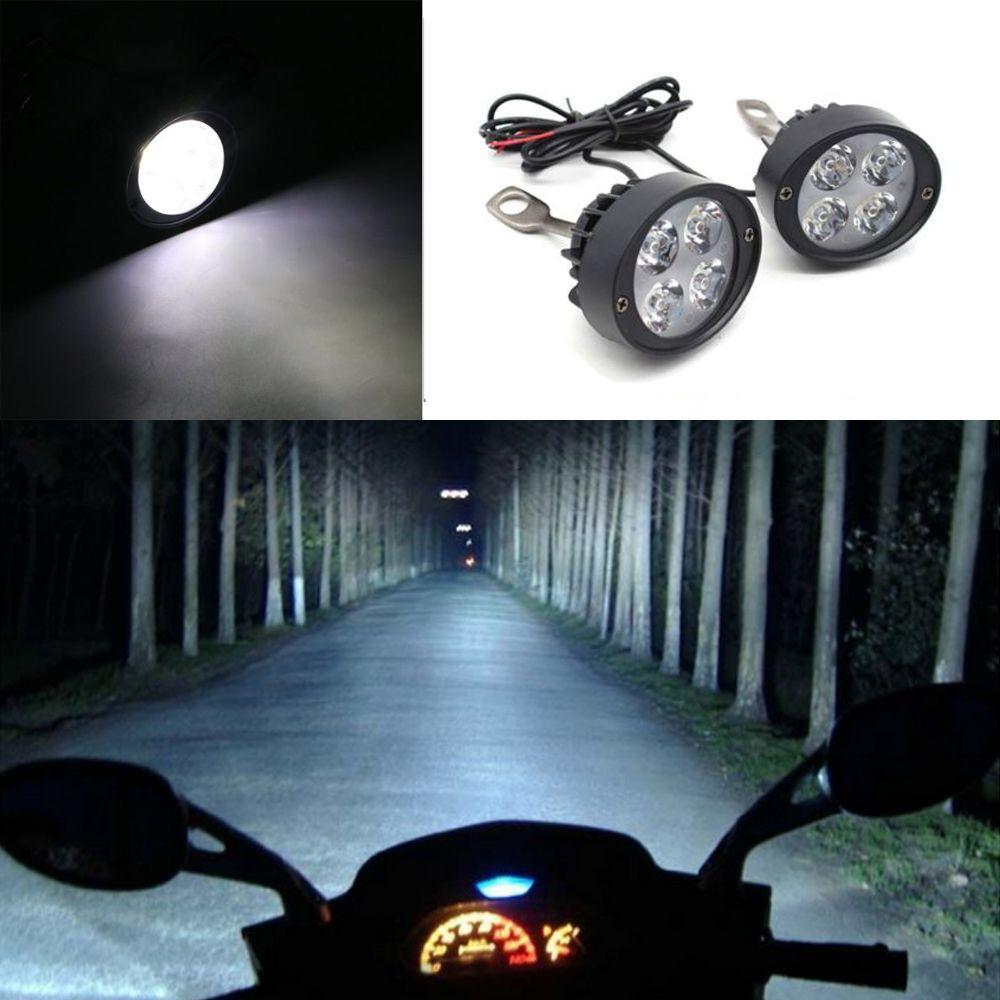 ♡amart♡2pcs White Motorcycle 4 LEDs Fog Head Light Lamp Super ...