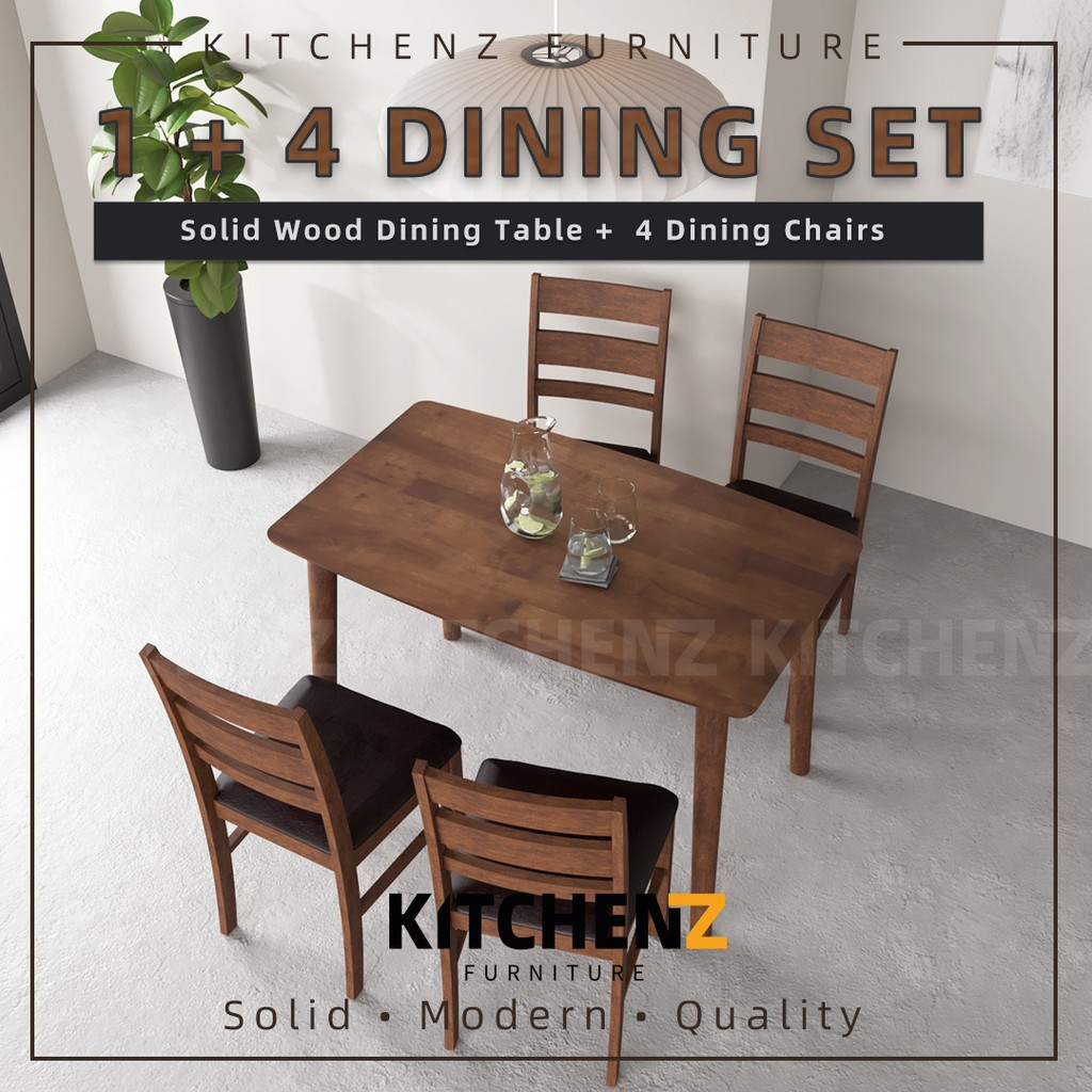 KitchenZ Modern Solid Wood / Dining Set / Dining Table / Bench Chair / PU Leather Seat Dining Chair