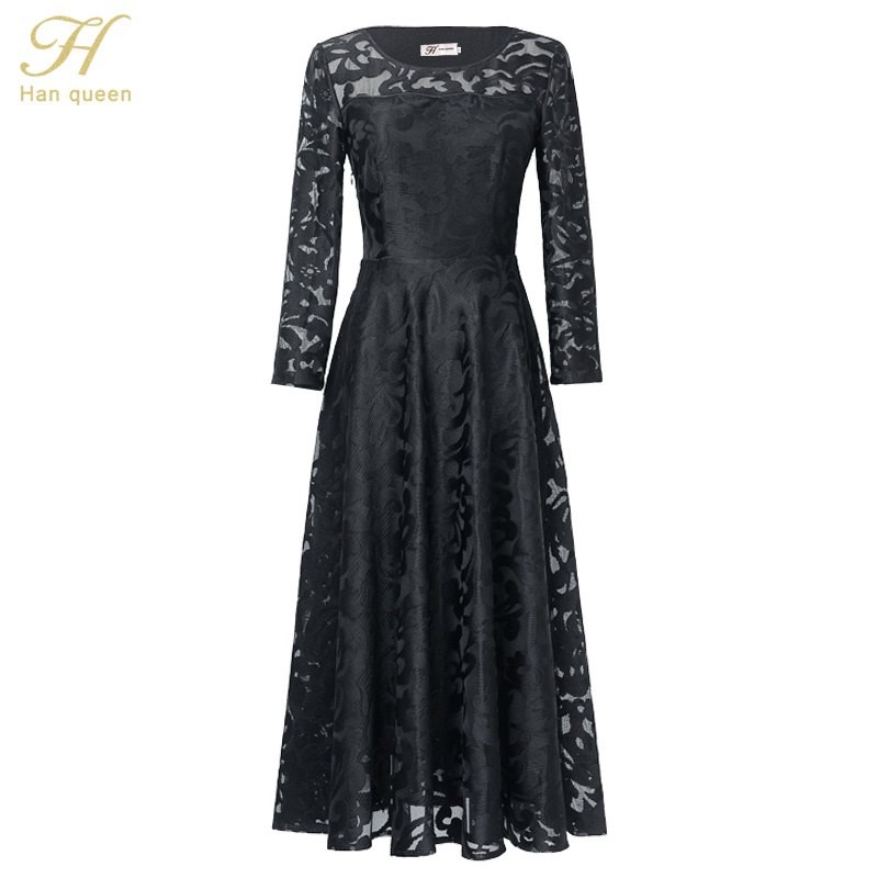 10b7792dddd33 H Han Queen Lace Dress Work Sexy Hollow Out Blue Red Dresses Women A-Line  Vintage Black