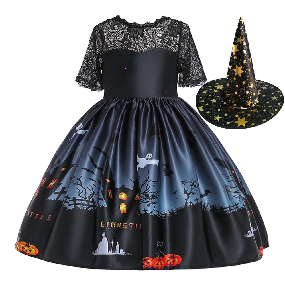 Girls Halloween Cosplay Witch Costume Kids Party Tulle Dress Princess Outfits