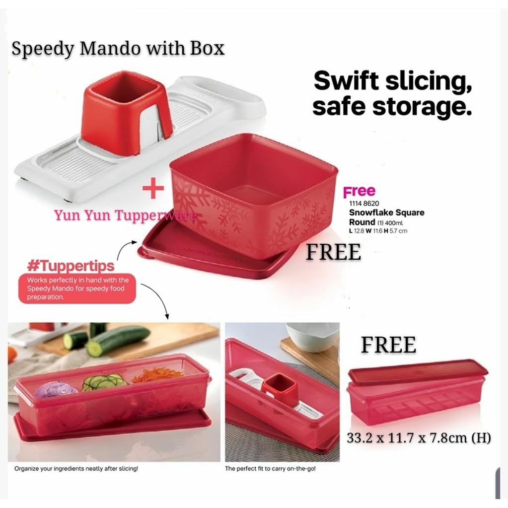 Tupperware Speedy Mando (1) with gift box + FREE Snowflake square round 400ml + FREE Thin Stor (1) 1.7L
