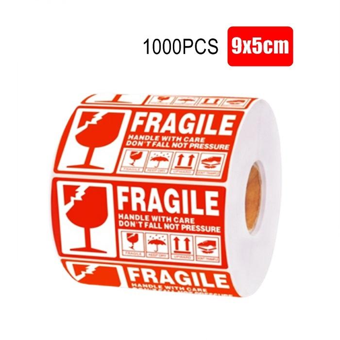 1000 PCS Fragile Sticker Warning Label Poslaju Courier Urgent Sticker Mudah Pecah