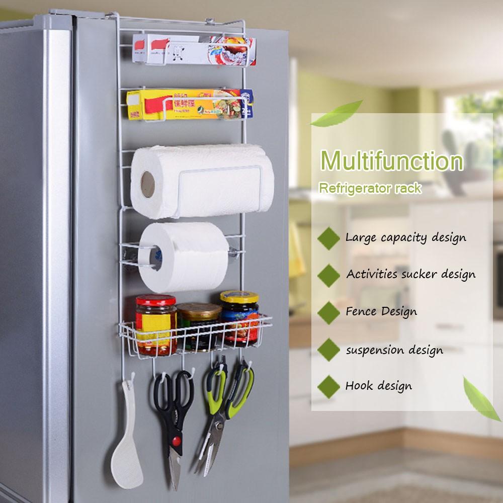 Aluminium Kitchen Cabinet Malaysia: Metal Kitchen Cabinet Refrigerator Side Door Storage Rack