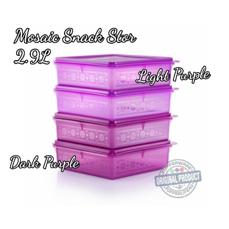 💥New Purple - Ready Stock💥Tupperware Mosaic Snack Stor 2.9L (1 or 2Pcs)