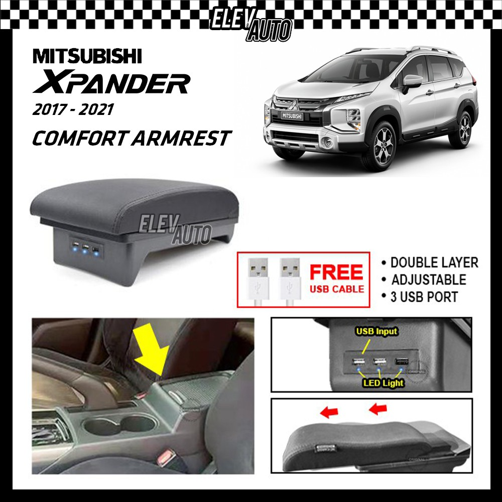 PREMIUM Leather Arm Rest ArmRest Double Layer Adjustable Mitsubishi Xpander 2017-2021 (3 USB)