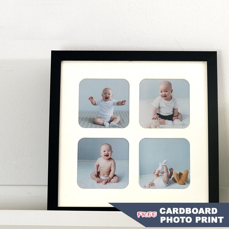 Moderm Style Simple Four-Square Grid Expression Four-Hole Wooden Photo Frame Creative