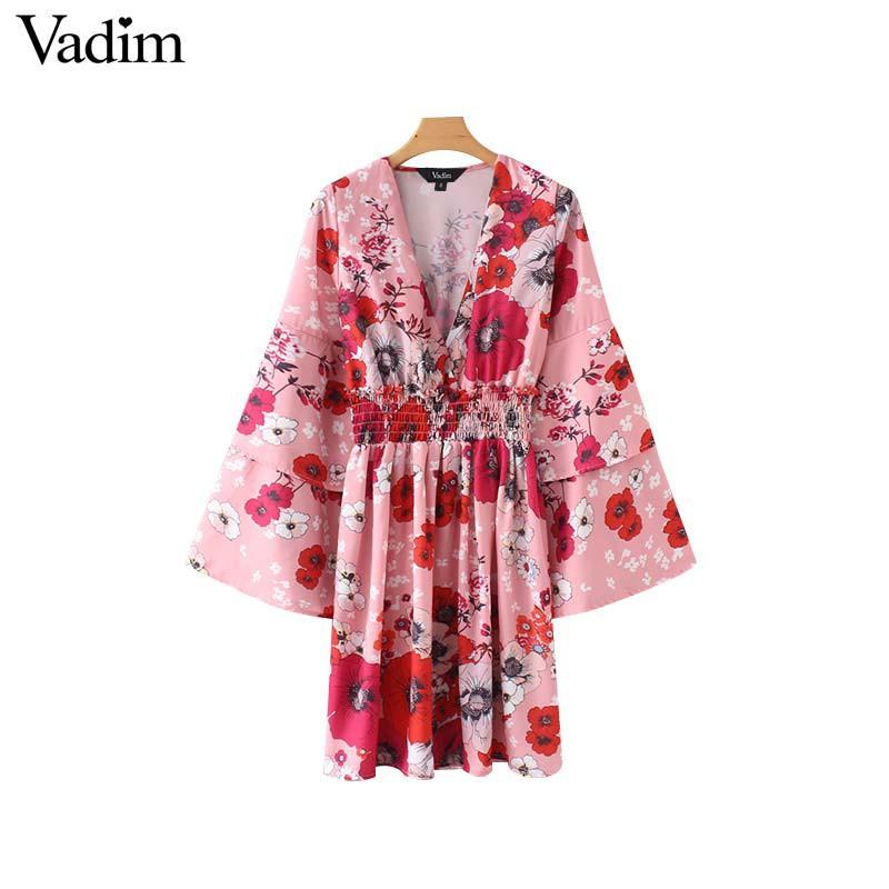 5a915d1bb0bf3 Vadim women vintage V neck floral chiffon dress elastic waist flare sleeve