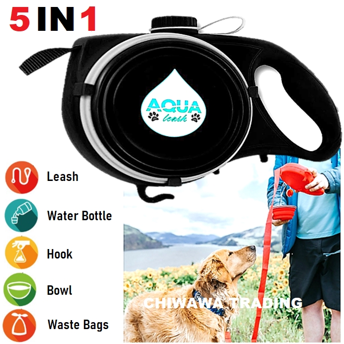 5 IN 1 Pet Dog Cat Training Lead Leash + Water Bottle Container + Food Bowl Dish + Waste Bag Dispenser + Hand Free Hook