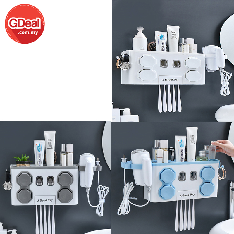 GDeal 4 Cup Toothbrush Wall Punch-Free Holder Multipurpose Set Storage Rack Squeeze Toothpaste Brush  Wall Hanging