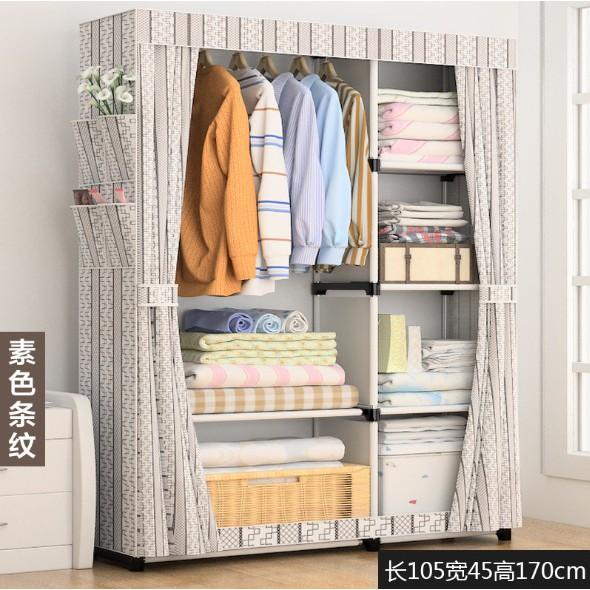 Wardrobe Almari Baju Rak Baju Clothes Organization Storage Rack Cabinet Clothes Rack Bedroom Furniture Cupboard 170cm
