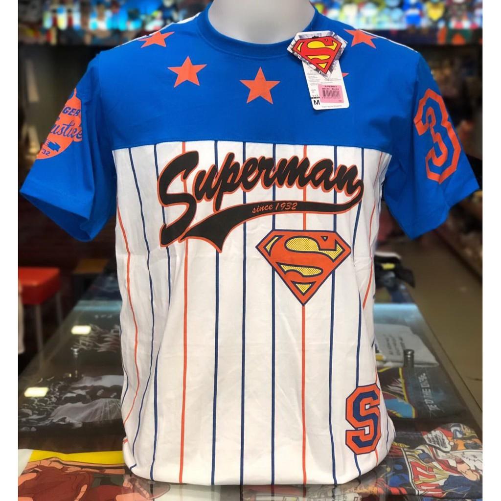 เสื้อซุปเปอร์แมน Superman สีฟ้าขาว ลิขสิทธิ์แท้ ลายยอดฮ
