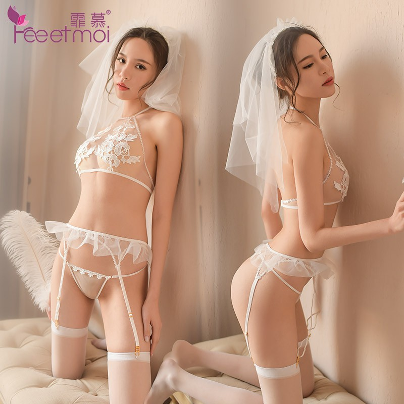 257091ce76  READY STOCK  White Wedding Bribe Costume Garter Belt Lingerie Set MS522