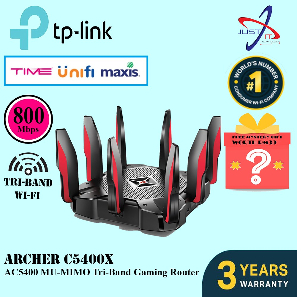 TP-LINK ARCHER C5400X MU-MIMO AC5400 TRI-BAND GAMING ROUTER (FREE MYSTERY  GIFT WORTH RM39)