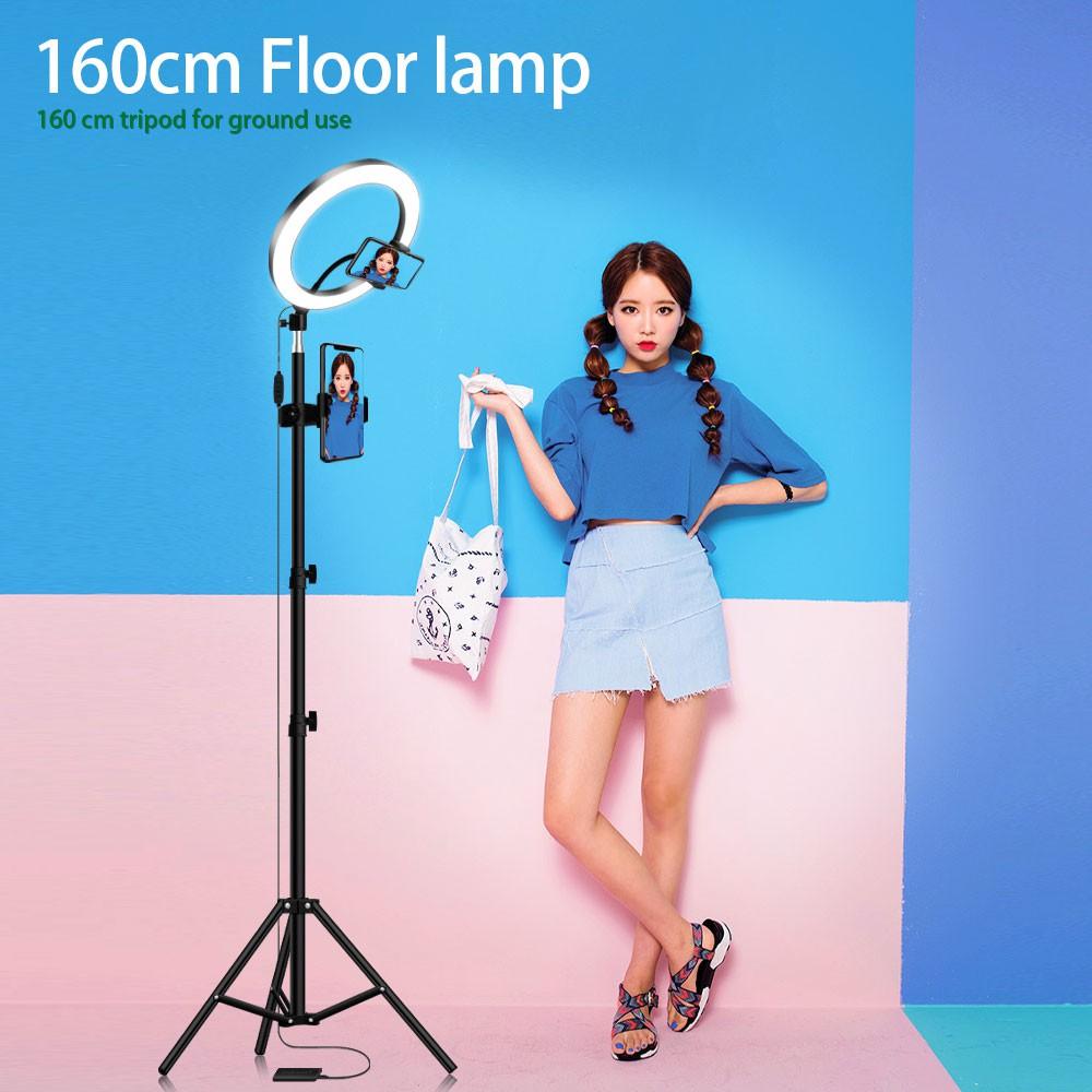 Phone Holder Fill Light Webcast Beauty Light//USB Charging Ringlight Ring Light LED Floor Ring Light Set with Selfie Stick and Tripod Color : D, Size : 20cm