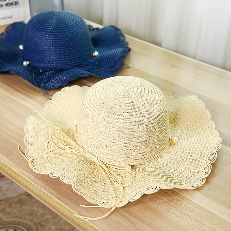 f5bc0b46c Straw hat men's ladies pearl spring and summer dome sunscreen beach big  seaside