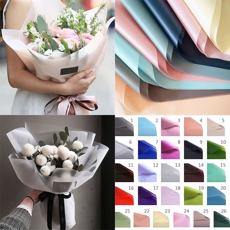 20 Sheets Waterproof Flowers Wrapping Paper Gifts Frosted Packaging 60x60cm