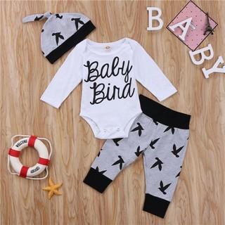 4825f28ef03ac 3pcs Newborn Baby Boys Girls Romper Bird Tops T-Shirt+Pants Clothes Outfits  Set