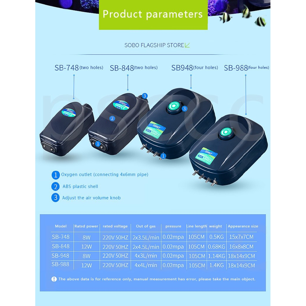 Efficient Super Silent Aquarium Fish Tank Oxygen Air Pump 1//2//4 Way Outlet 220V