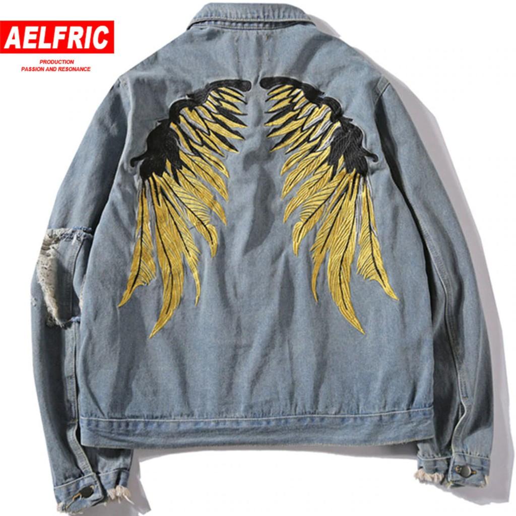 184c5992bc Streetwear Hip Hop Men Graffiti Print Black Denim Jacket Ripped Mens Jean