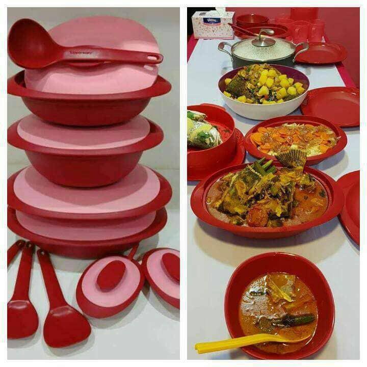 Set Hidangan Warna Merah jenama Tupperware