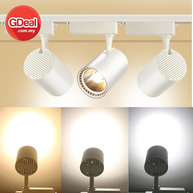 GDeal 30W Adjustable LED White Surface Mounted Rail Ceiling Spotlight Track Light Bulb Lampu Siling