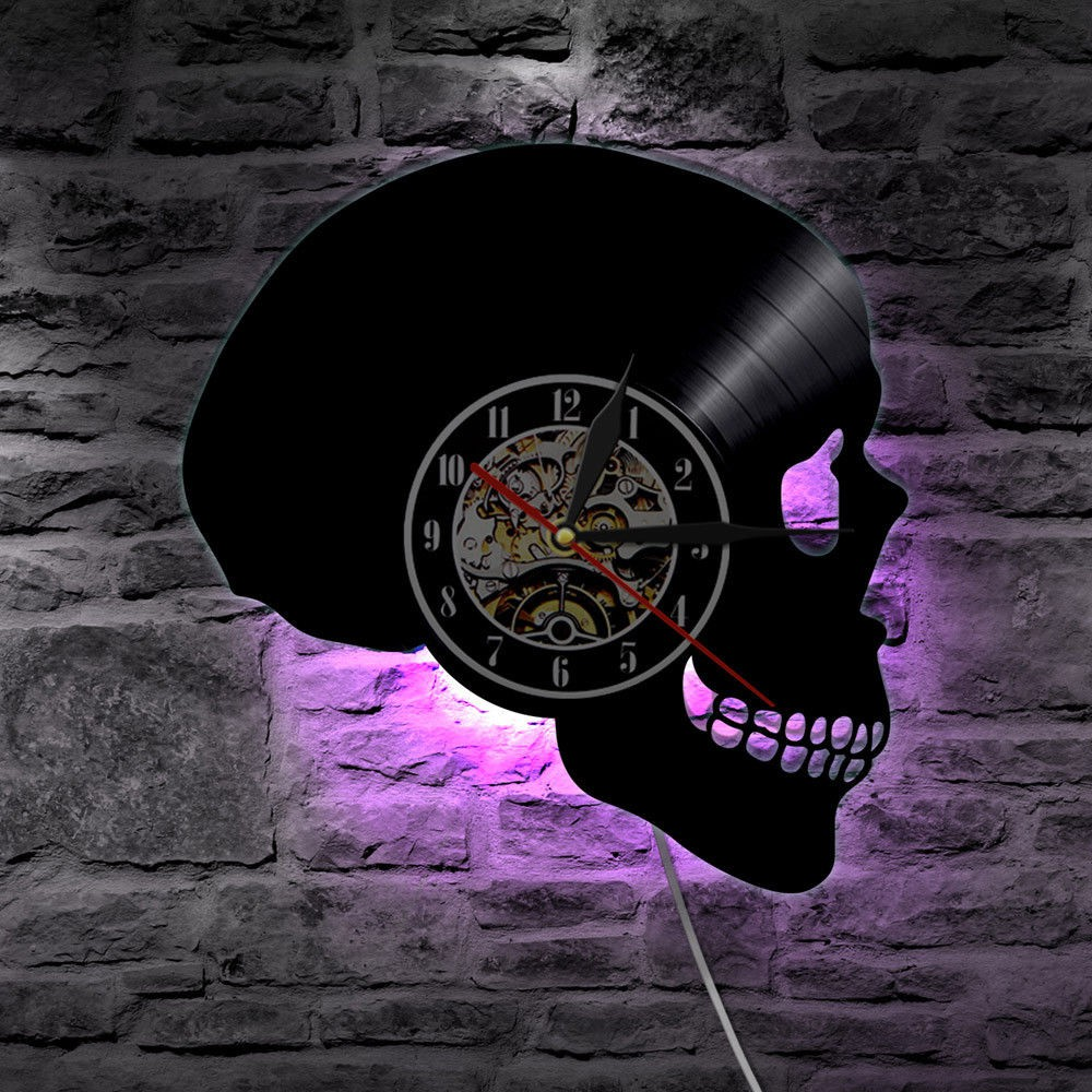 Creative Skull Vinyl Wall Clock Modern Design Unique Led Lighting Clocks