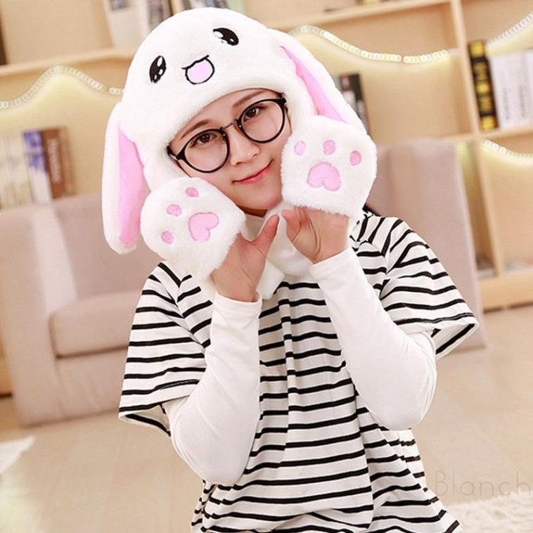 Hot Sell Fashion Moving Hat Rabbit Ears Plush Sweet Cute Airbag Cap 2 Color Can Be Choose Girl's Accessories Apparel Accessories