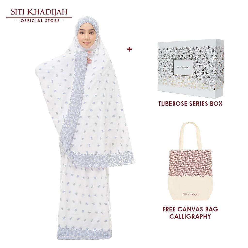 [Mawlid Sale] Siti Khadijah Telekung Broderie Hawa Sulam Color with Tuberose Box + Free Canvas Bag Calligraphy