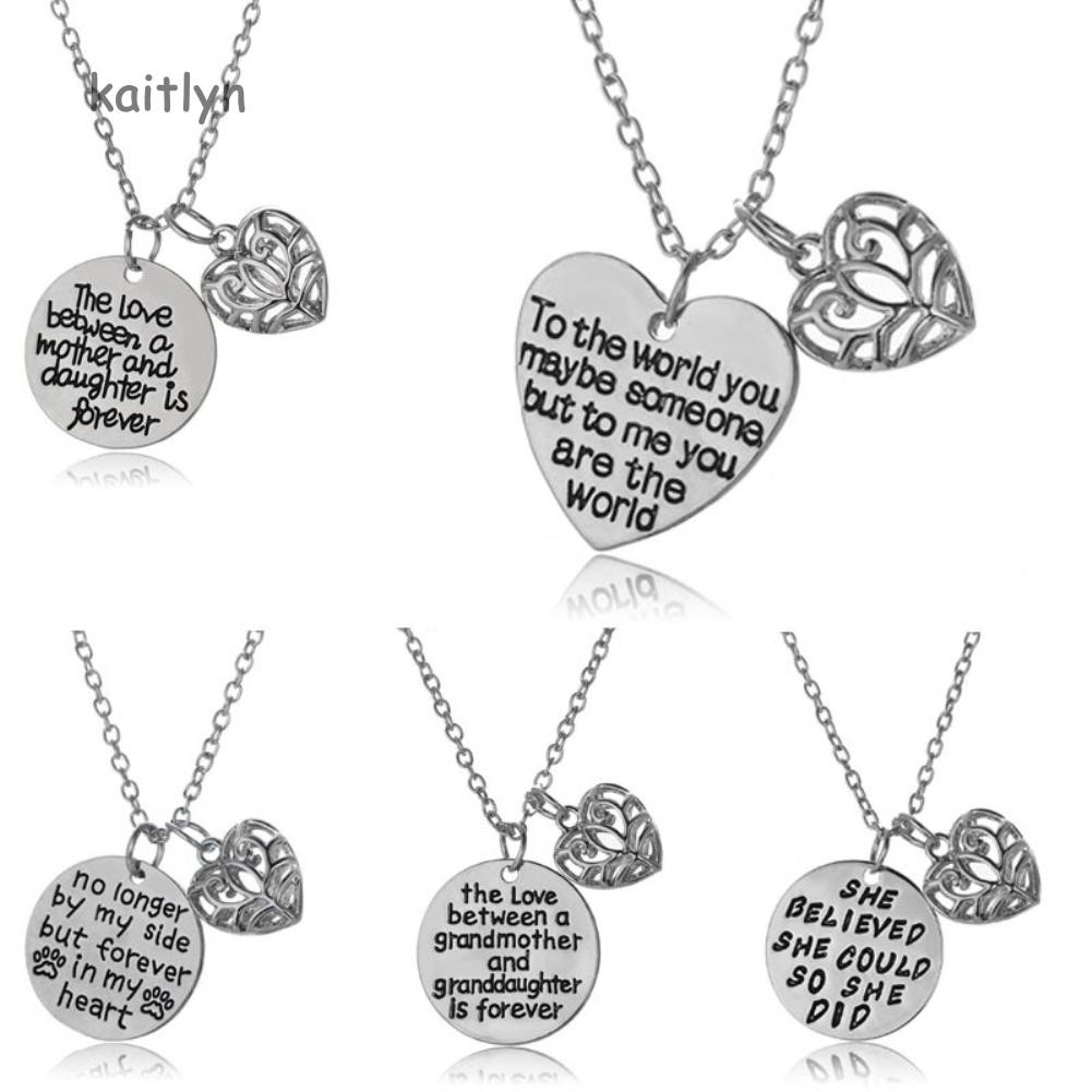 14345193692a8 Kaitlyn☺Fashion Mother Daughter Gift Letters Heart Pendant Family Party  Necklace Jewelry