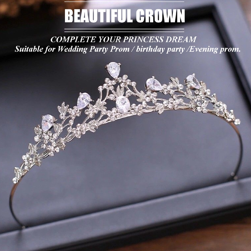 Silver Rhinestone Tiara Headband Accessory Wedding Bridal Birthday Princess