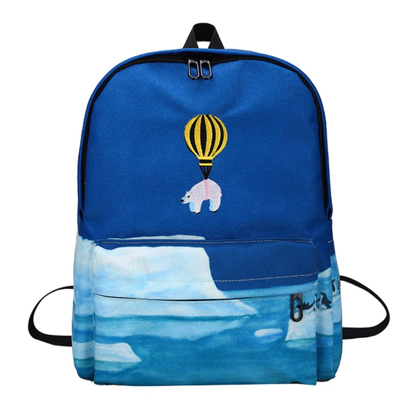 Cute Printing Cartoon School Bag Canvas Backpack Casual Teenage Girls Rucksack
