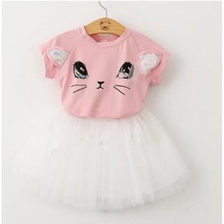 19009716 Girls Cat T-Shirts+Net Veil Tutu Skirt Short Sleeve Cartoon Clothes Set