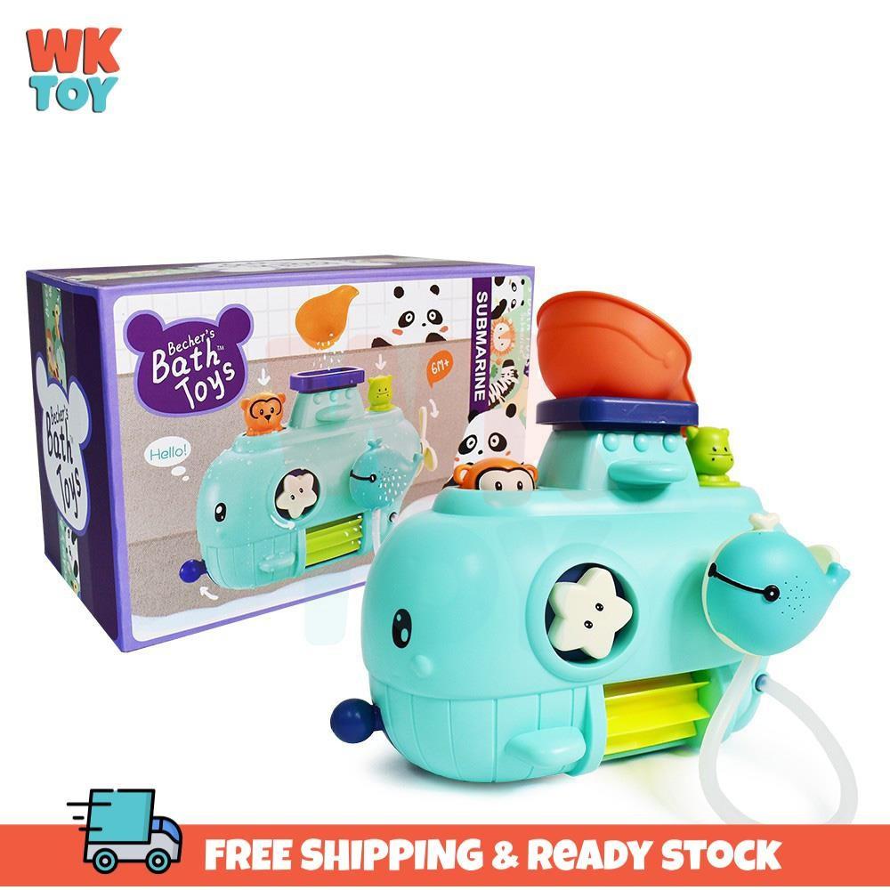 WKTOY Baby Bath Toys Swimming Wind Up Mainan Kids Water Bathing