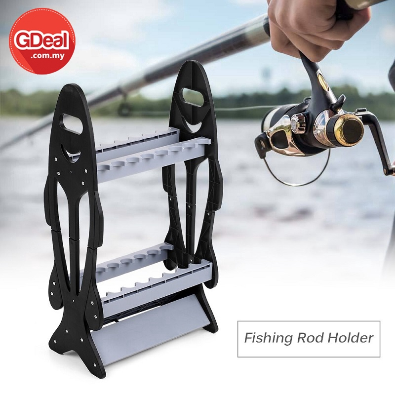Lightweight Easy Take Fishing Rod Rack Pole Holder Stand Organizer Rack For 16 Rods Outdoor Fish Rod Holder