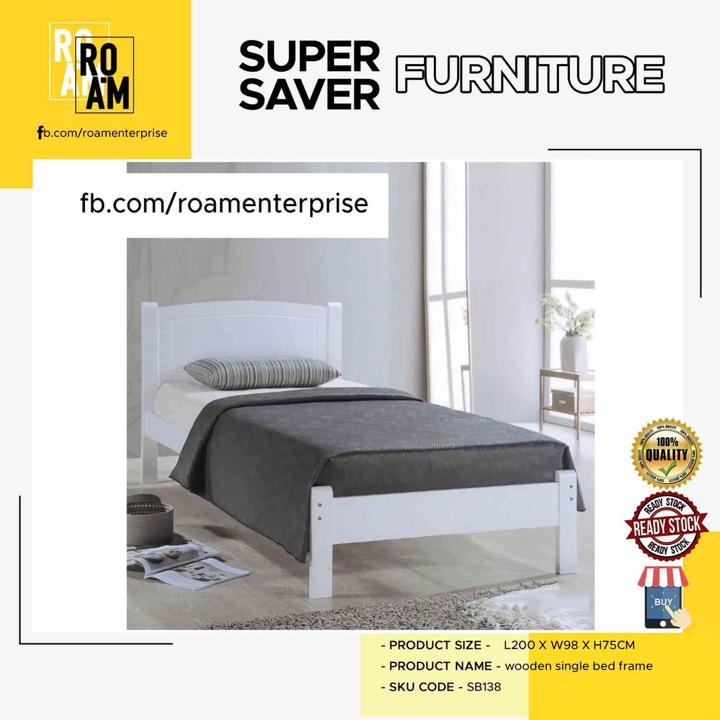 THOMAS SB138 WOODEN SINGLE BED FRAME-WHITE
