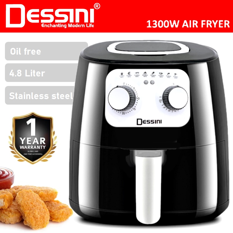 【ORIGINAL】 DESSINI ITALY 4.8L Electric Air Fryer Timer Oven Cooker Non-Stick Fry Roast Grill Bake Machine