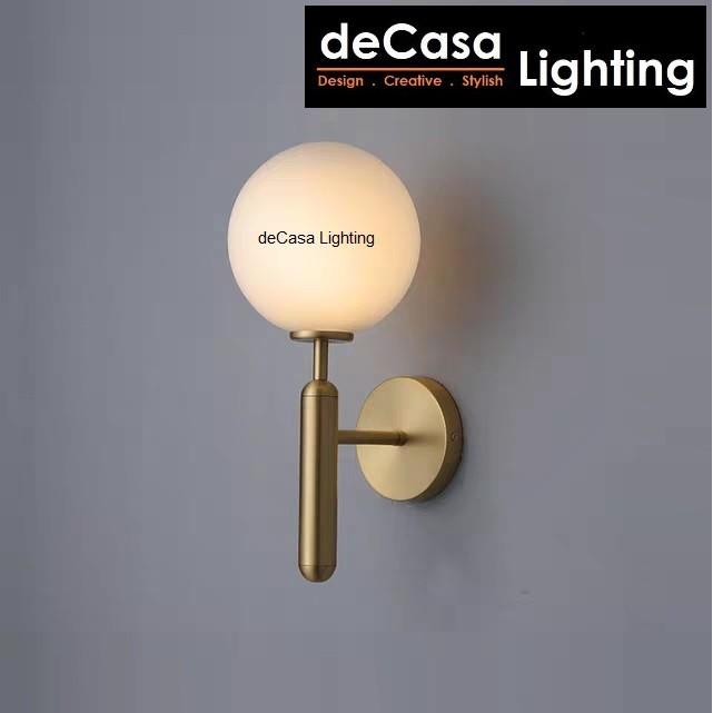 Decasa metal glass ball wall lights Sconces Indoor Stair Light Fixture Bedroom Bedside Living Room Wall Lamp (2012-GD)