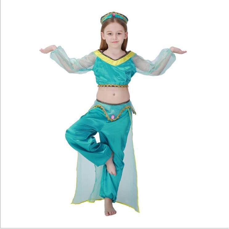 81b5de800afcb Girls Aladdin Indian Jasmine Princess Costumes Children Halloween ...