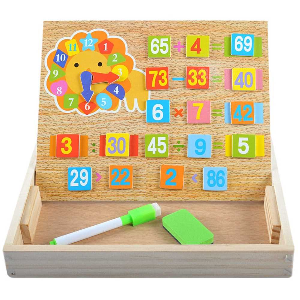 Wooden Counting Sticks Arithmetic Box Mathematics Learning Educational Toys with Counting Rods and Writingboard (Standa